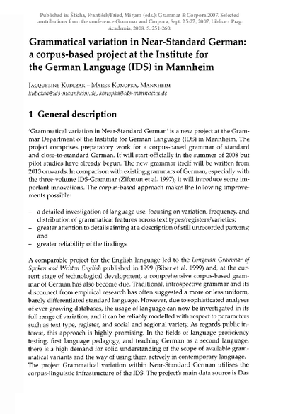 Grammatical Variation in Near-Standard German: a corpus-based project at the Institute for the German Language (IDS) in Mannheim