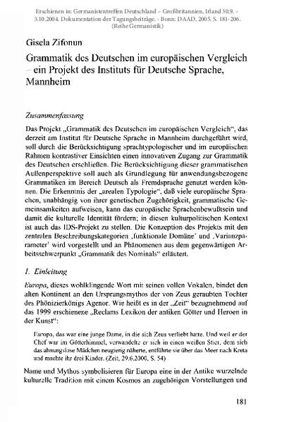 Grammatik des Deutschen im europäischen Vergleich - ein Projekt des Instituts für Deutsche Sprache, Mannheim