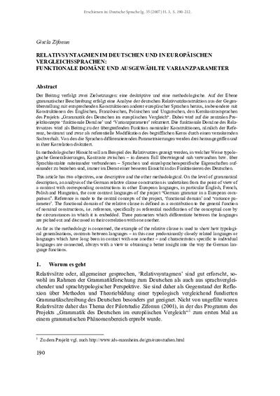 Relativsyntagmen im Deutschen und in europäischen Vergleichssprachen: Funktionale Domäne und ausgewählte Varianzparameter
