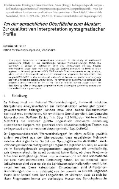 Von der sprachlichen Oberfläche zum Muster. Zur qualitativen Interpretation syntagmatischer Profile