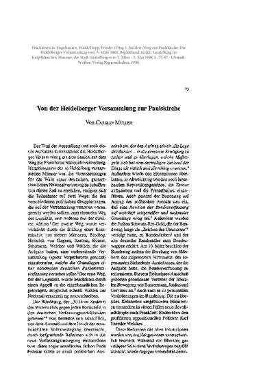 Von der Heidelberger Versammlung zur Paulskirche