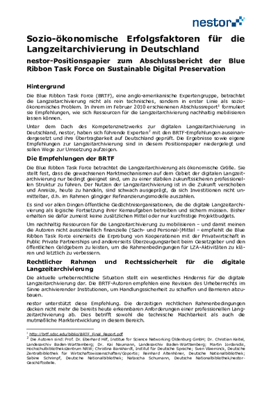 Sozio-ökonomische Erfolgsfaktoren für die Langzeitarchivierung in Deutschland. nestor-Positionspapier zum Abschlussbericht der Blue Ribbon Task Force on Sustainable Digital Preservation