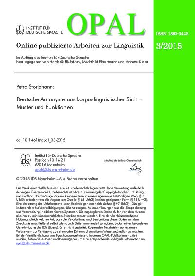 Deutsche Antonyme aus korpuslinguistischer Sicht – Muster und Funktionen