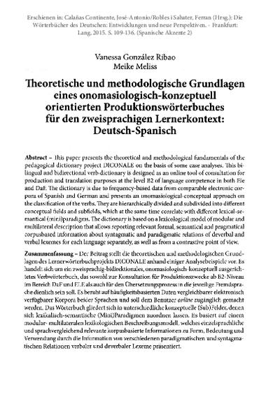 Theoretische und methodologische Grundlagen eines onomasiologisch-konzeptuell orientierten Produktionswörterbuches für den zweisprachigen Lernerkontext: Deutsch-Spanisch