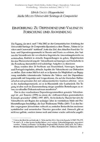 Einführung: Zu Dependenz und Valenz in Forschung und Anwendung
