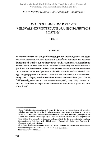 Was soll ein kontrastives Verbvalenzwörterbuch Spanisch-Deutsch leisten? (Teil II)