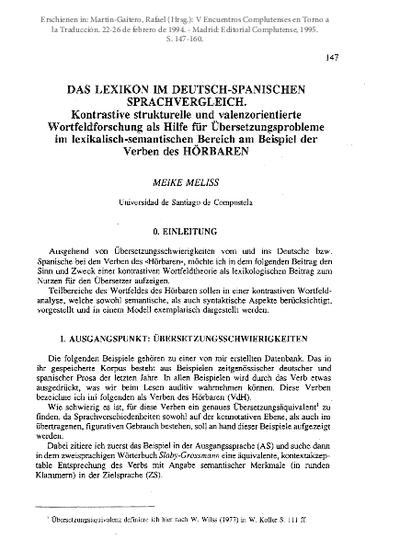 Das Lexikon im Deutsch-Spanische Sprachvergleich. Kontrastive strukturelle und valenzorientierte Wortfeldforschung als Hilfe für Übersetzungsprobleme im lexikalisch-semantischen Bereich am Beispiel der Verben des HÖRBAREN