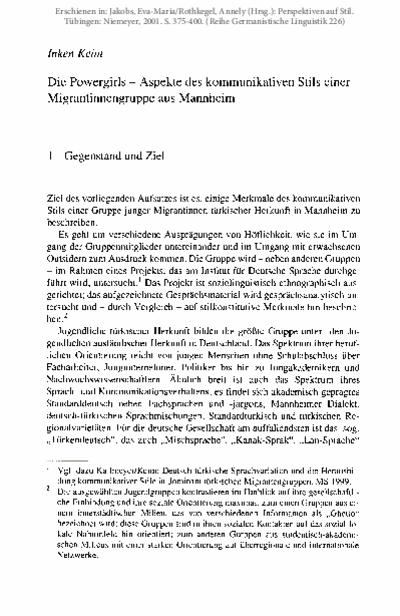Die Powergirls - Aspekte des kommunikativen Stils einer Migrantinnengruppe aus Mannheim