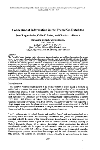 Collocational Information in the FrameNet Database