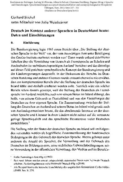 Deutsch im Kontext anderer Sprachen in Deutschland heute. Daten und Einschätzungen
