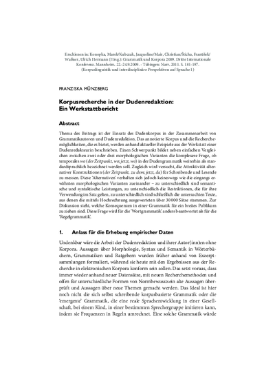 Korpusrecherche in der Dudenredaktion: Ein Werkstattbericht