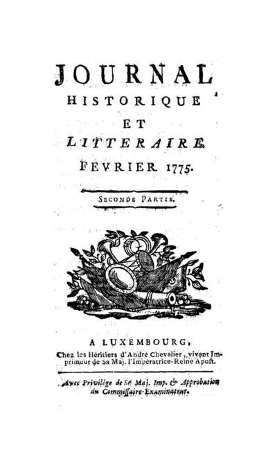 Journal historique et littéraire - 1775-02-15