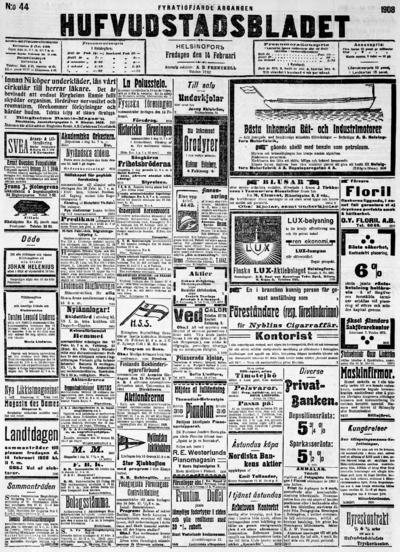 Hufvudstadsbladet, nr: 44 - 1908-02-14