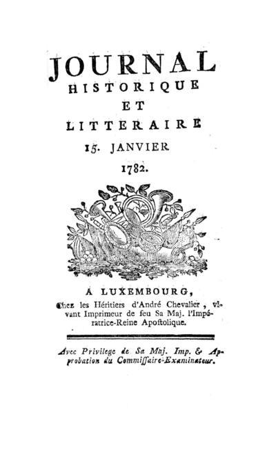 Journal historique et littéraire - 1782-01-15