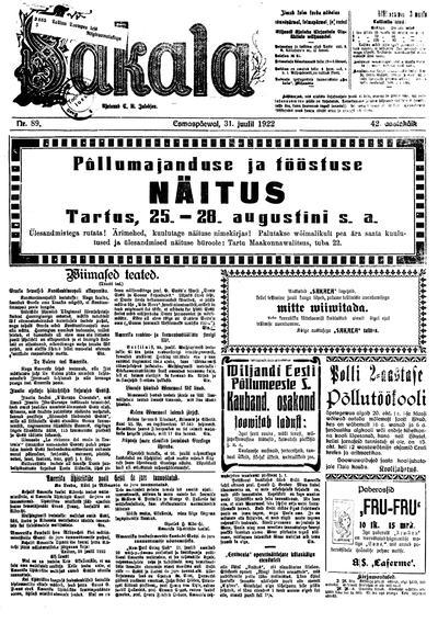 Sakala - 1922-07-31