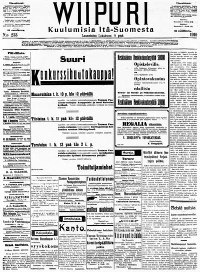 Wiipuri, nr: 233 Kuulumisia Itä-Suomesta - 1910-10-08