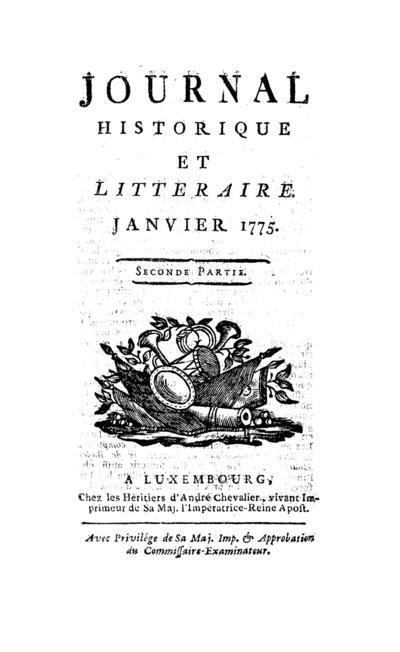 Journal historique et littéraire - 1775-01-15