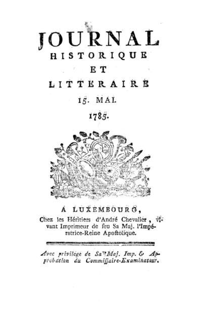 Journal historique et littéraire - 1785-05-15