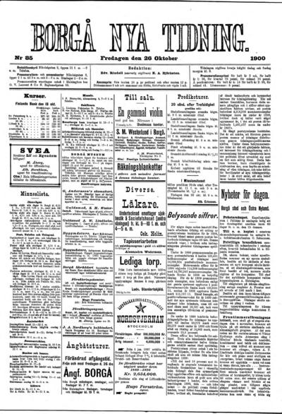 Borgå Nya Tidning, nr: 85 - 1900-10-26