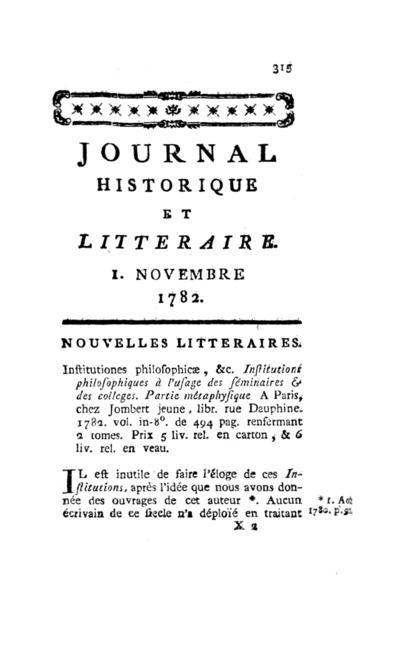 Journal historique et littéraire - 1782-11-01