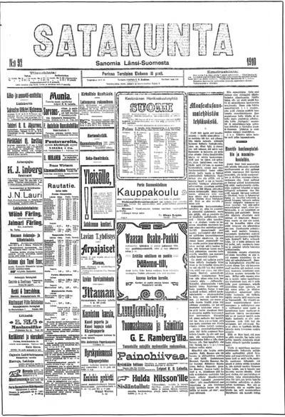 Satakunta, nr: 92 Sanomia Länsi-Suomesta - 1910-08-18