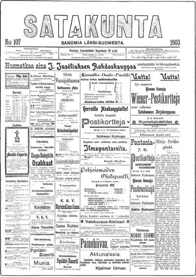 Satakunta, nr: 107 Sanomia Länsi-Suomesta - 1903-09-19