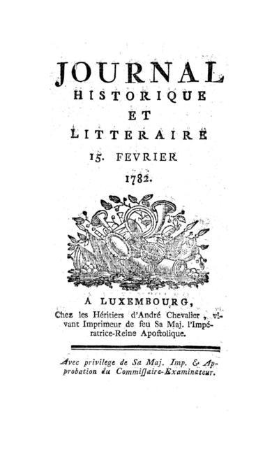 Journal historique et littéraire - 1782-02-15