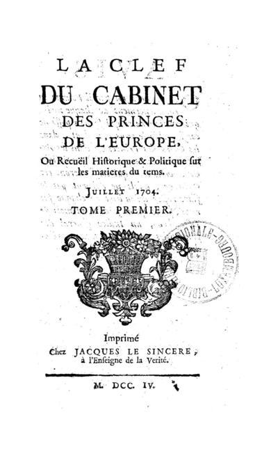 La clef du cabinet des princes de l'Europe - 1704-07-01