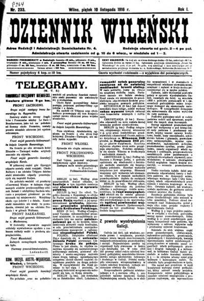 Dziennik Wileński - 1916-11-10