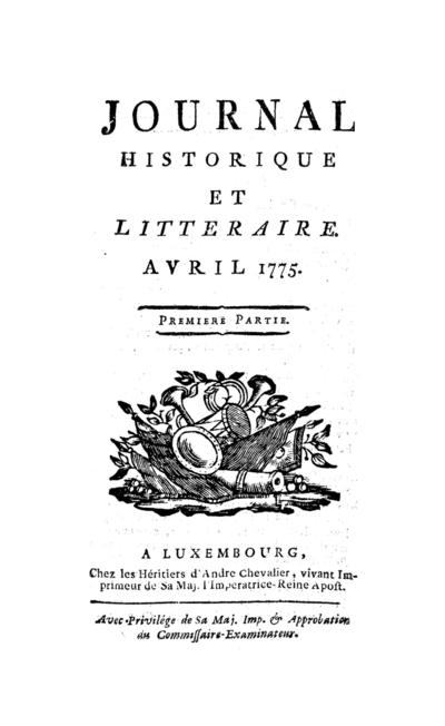 Journal historique et littéraire - 1775-04-01