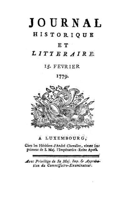 Journal historique et littéraire - 1779-02-15