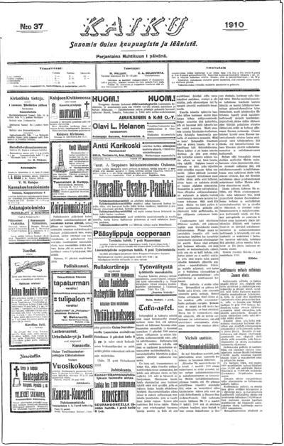 Kaiku, nr: 37 Sanomia Oulun kaupungista ja läänistä - 1910-04-01