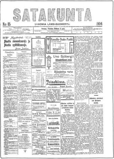 Satakunta, nr: 85 Sanomia Länsi-Suomesta - 1904-08-02