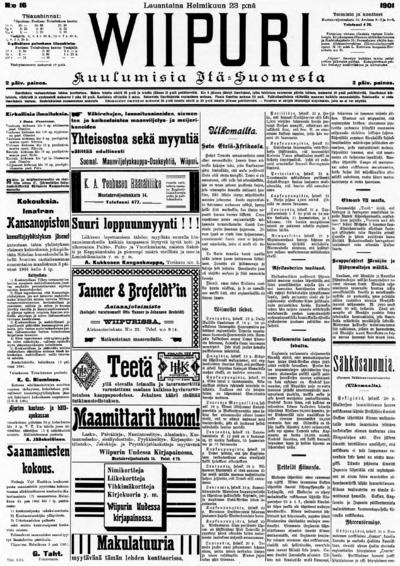 Wiipuri, nr: 46 Kuulumisia Itä-Suomesta - 1901-02-23