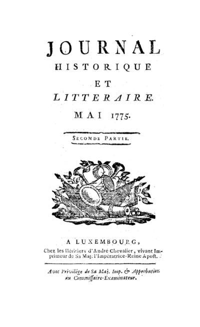 Journal historique et littéraire - 1775-05-15