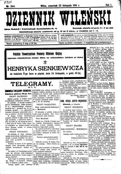 Dziennik Wileński - 1916-11-23