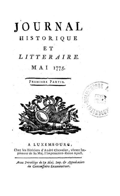Journal historique et littéraire - 1775-05-01