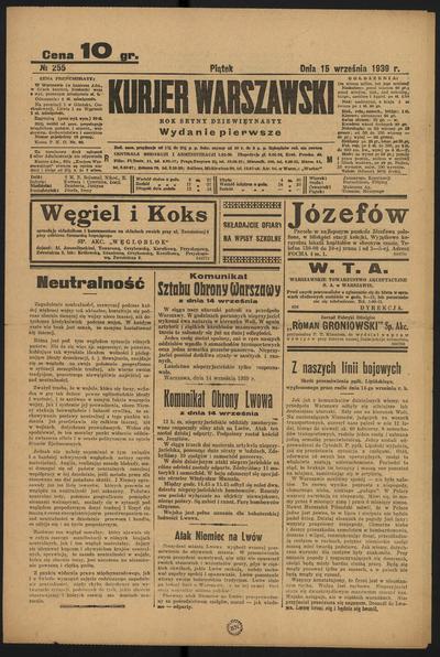 Kurjer Warszawski - 1939-09-15