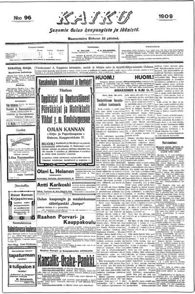 Kaiku, nr: 96 Sanomia Oulun kaupungista ja läänistä - 1909-08-23
