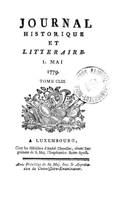 Journal historique et littéraire - 1779-05-01