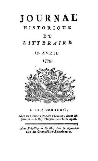 Journal historique et littéraire - 1779-04-15