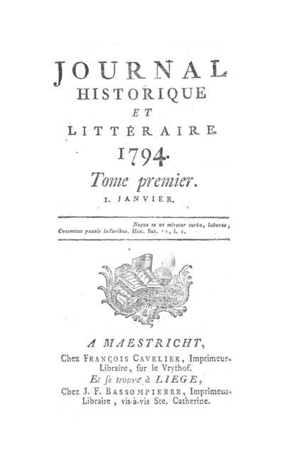 Journal historique et littéraire - 1794-01-01