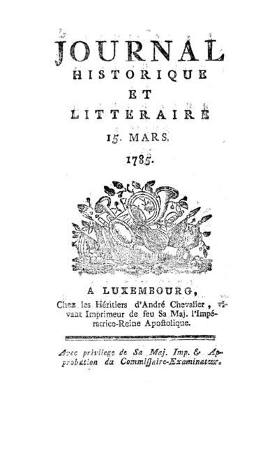 Journal historique et littéraire - 1785-03-15