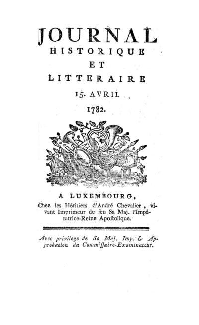 Journal historique et littéraire - 1782-04-15