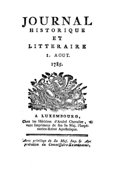 Journal historique et littéraire - 1785-08-01