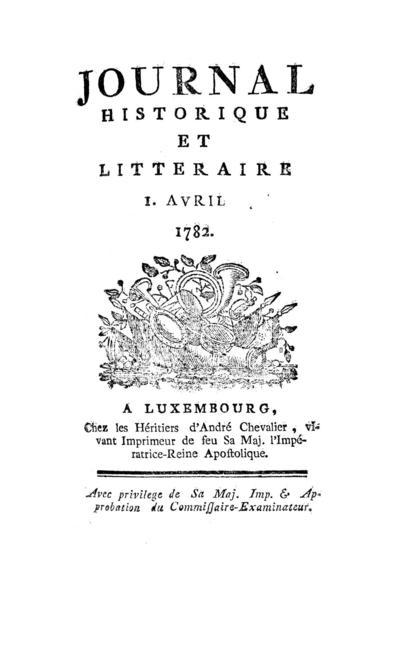 Journal historique et littéraire - 1782-04-01