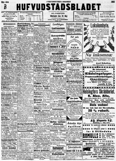 Hufvudstadsbladet, nr: 144A - 1905-05-28
