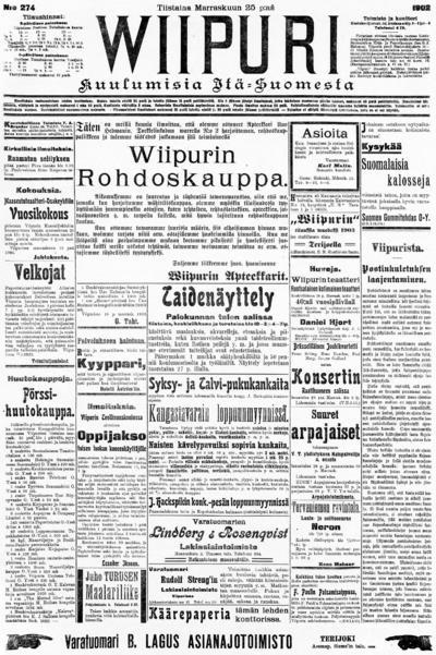 Wiipuri, nr: 274 Kuulumisia Itä-Suomesta - 1902-11-25