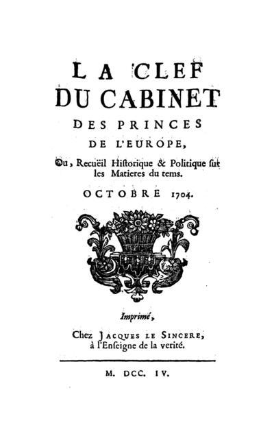 La clef du cabinet des princes de l'Europe - 1704-10-01