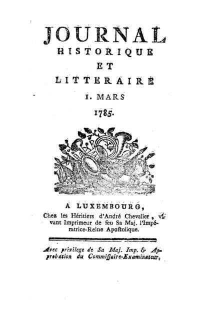 Journal historique et littéraire - 1785-03-01